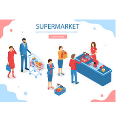 supermarket service concept card landing web page vector image