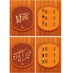 template for the cover of the beer and wine menu vector image