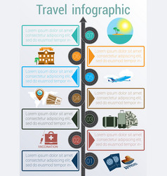 Travel infographic template 7 positions vector