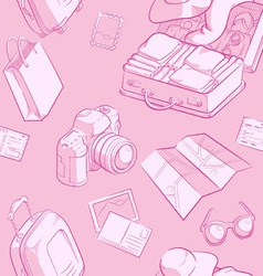 Travel Object Sketch Seamless Pattern vector image