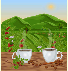 two cups of coffee with landscape view vector image
