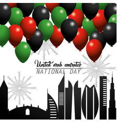 Uae national day with balloons and building vector