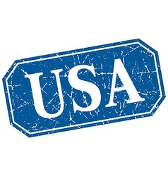 Usa blue square grunge retro style sign vector