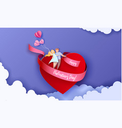 valentines day card with couple take care love vector image
