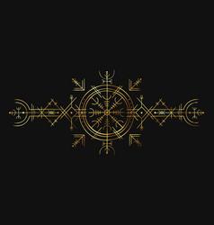 viking magic symbol golden esoteric ornament vector image