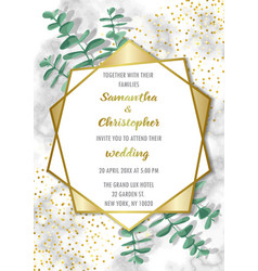 Wedding glamorous inviration with eucalyptus vector