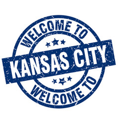 welcome to kansas city blue stamp vector image