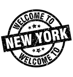 Welcome to new york black stamp vector
