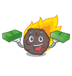 With money bag meteorite mascot cartoon style vector