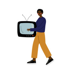 Young african american man carrying retro tv guy vector