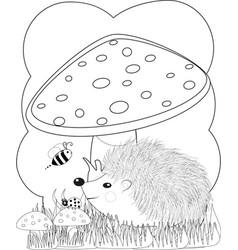 zentangl doodle hedgehog coloring page anti vector image