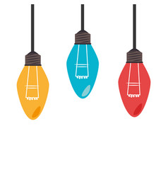 colorful set collection light bulb hanging vector image vector image