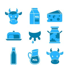 Dairy and milk flat icons set vector image