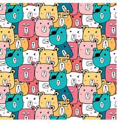 hand drawn cute bear pattern vector image