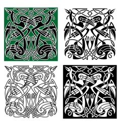 Heron birds with celtic ornament vector image vector image