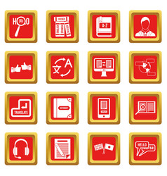 Learning foreign languages icons set red vector