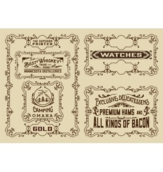 Old advertisements and frames pack- Vintage vector image vector image