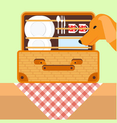 open basket for a picnic with tableware dog vector image