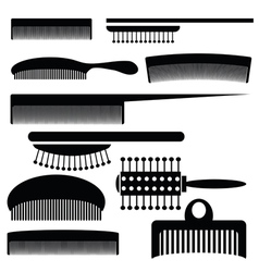 silhouettes of combs vector image