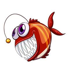 An ugly angry fish vector image vector image