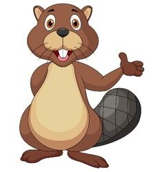 Cute beaver cartoon waving hand vector image