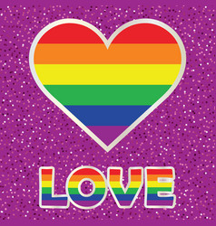 Gay pride poster with rainbow spectrum heart vector