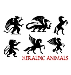 Heraldic mythical animals emblems vector image