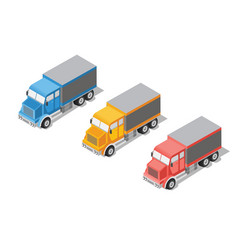 set cargo truck vector image