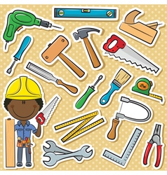 African-American carpenter with tools vector image