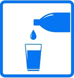 Falling water drop bottle and glass vector