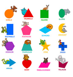 geometric shapes with animal characters set vector image