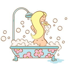 girl and bubble bath vector image