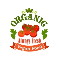 Organic vegan food tomatoes icon vector image vector image