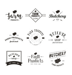 Set of retro styled butchery logo templates vector