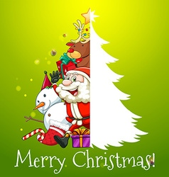 Christmas theme with Santa and snowman vector image vector image