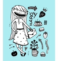 Cute girl happy tea party with design elements vector image vector image