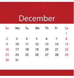 december 2018 calendar popular red premium for vector image