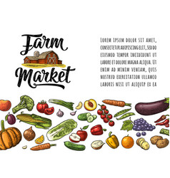farm market calligraphic lettering with hangar vector image vector image