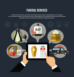 funeral services composition vector image vector image