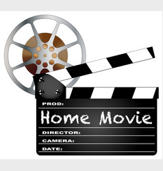 home movie clapperboard and reel vector image vector image