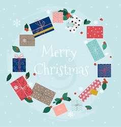 Merry Christmas greeting cards Wreath of colorful vector image