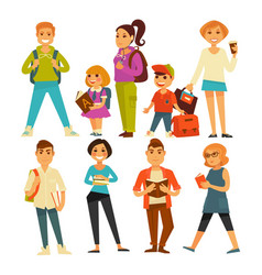 people of various ages with books and bags vector image