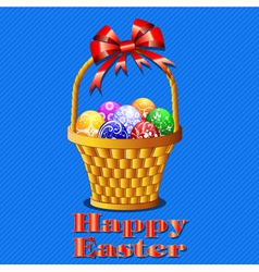 postcard with Easter eggs in the basket on a blue vector image vector image