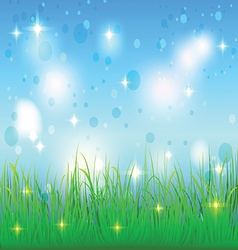 summer sky and meadow with grass vector image