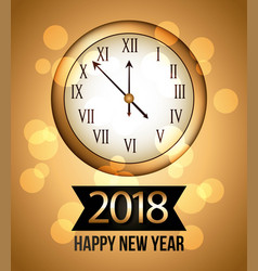 2018 new year gold shining background with clock vector image