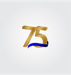 75 years anniversary celebration number gold vector