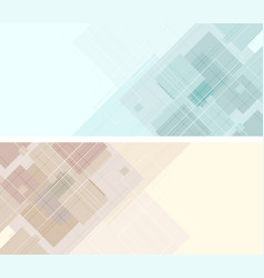 Abstract tech geometric banners with squares vector