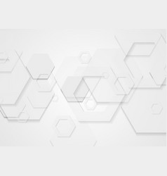 Abstract white minimal tech hexagons background vector