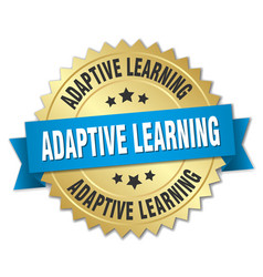 Adaptive learning round isolated gold badge vector