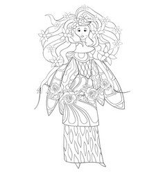 adult coloring bookpage a cute fairy with dress vector image